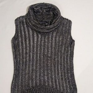 Kenneth Cole Silver Knit Sleeveless Cowl Neck